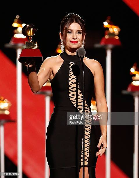 Recording artist Paula Fernandes accepts the Best Sertaneja Music Album onstage during The 17th Annual Latin Grammy Awards Premiere Ceremony at MGM...