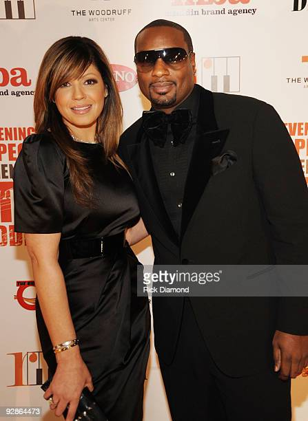 Recording Artist Pebbles and UpFront Megatainment Worldwide's Devyne Stephens at An Evening of Respect presented by The Big 'O' Foundation at The...