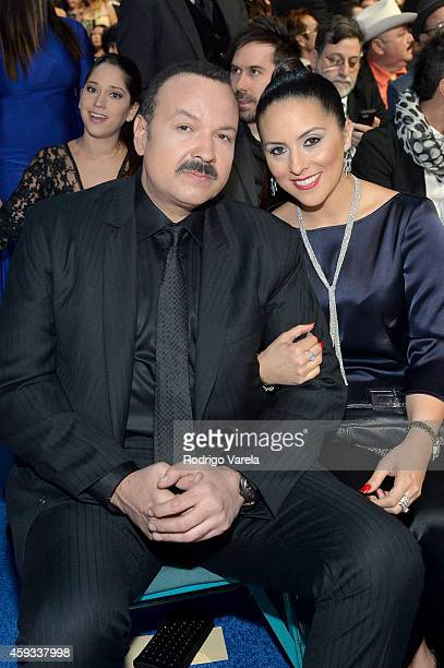Recording artist Pepe Aguilar and Aneliz Aguilar attend the 15th annual Latin GRAMMY Awards at the MGM Grand Garden Arena on November 20 2014 in Las...