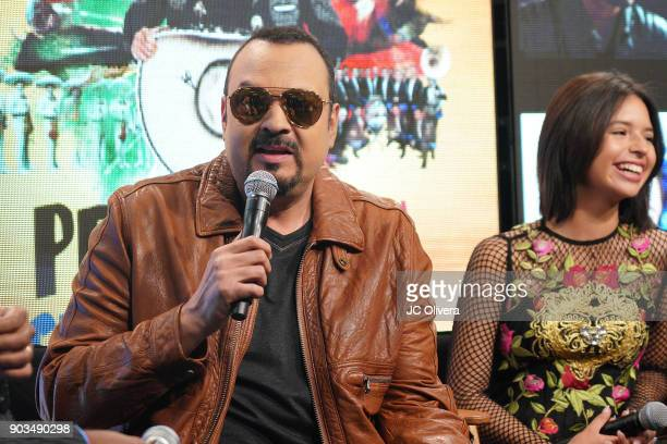 Recording artist Pepe Aguilar speaks during a press conference for the upcoming Tour 'Pepe Aguilar y Familia presentan Jaripeo Sin Fronteras' with...