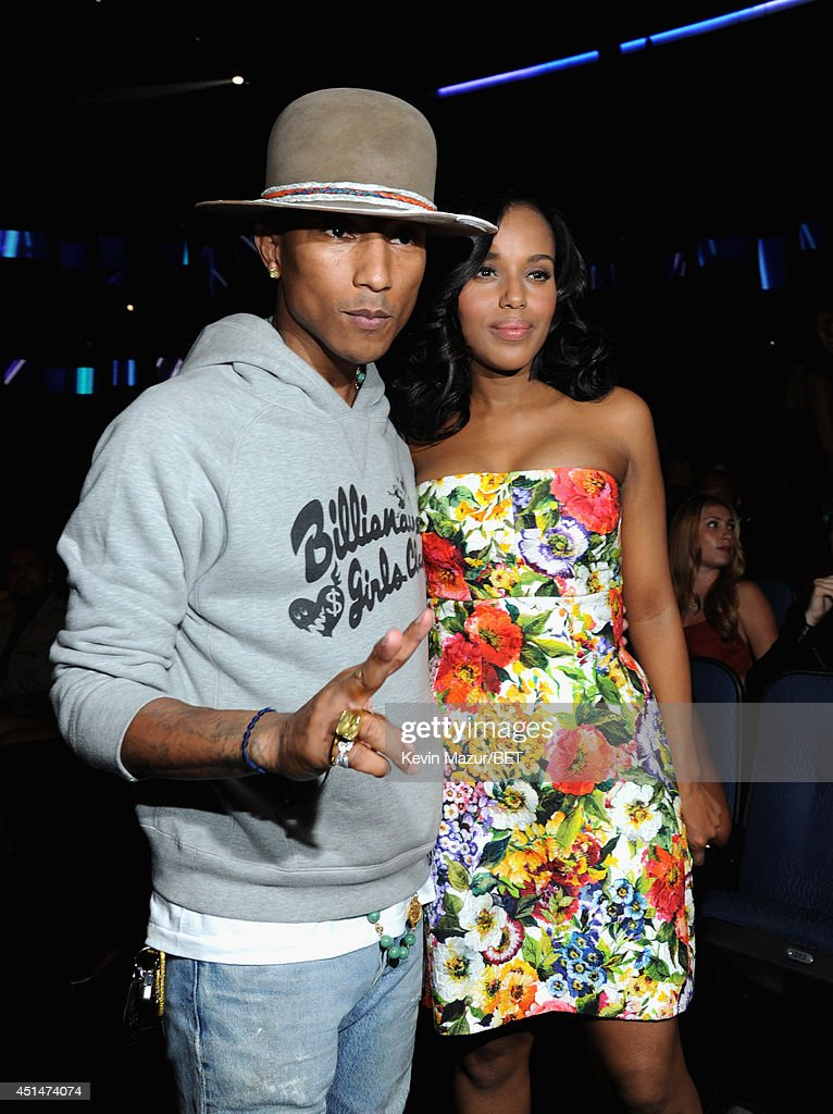 Recording artist Pharrell Williams (L) and actress Kerry Washington attend the BET AWARDS '14 at Nokia Theatre L.A. LIVE on June 29, 2014 in Los Angeles, California.