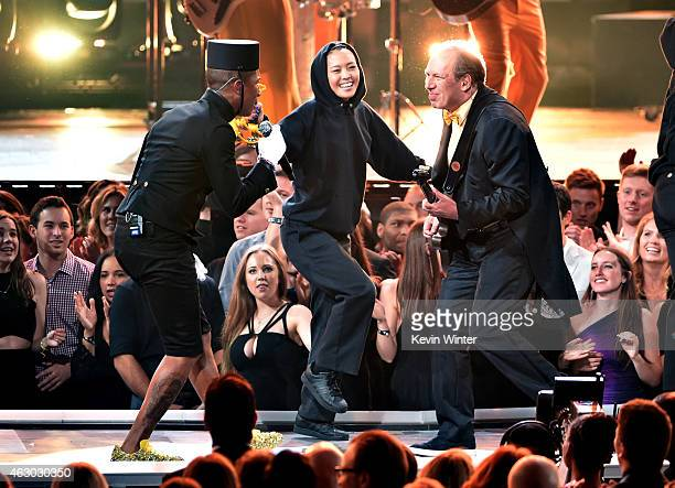 Recording artist Pharrell Williams and composer/musician Hans Zimmer perform onstage during The 57th Annual GRAMMY Awards at the STAPLES Center on...