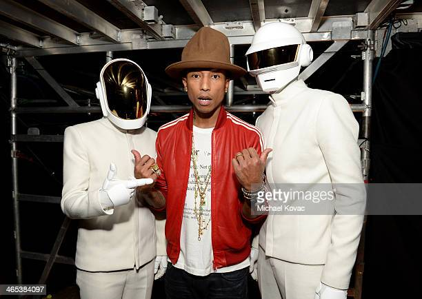 Recording artist Pharrell Williams and Daft Punk attend the 56th GRAMMY Awards at Staples Center on January 26 2014 in Los Angeles California