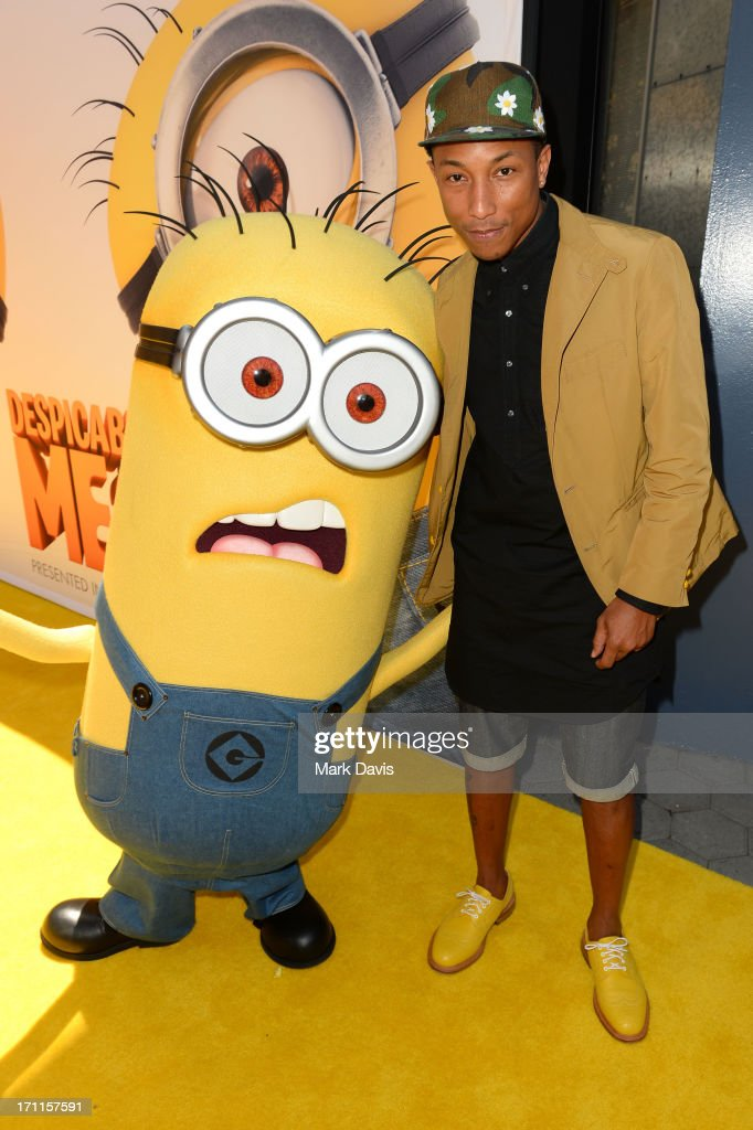 Recording artist Pharrell Williams arrives at the premiere of Universal Pictures' 'Despicable Me 2' at Gibson Amphitheatre on June 22, 2013 in Universal City, California.