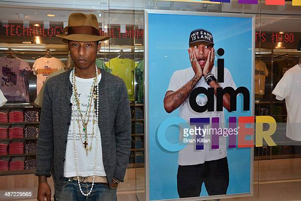 Recording artist Pharrell Williams at UNIQLO New York 5th Avenue Global Flagship Store on April 28 2014 in New York City