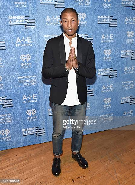 Recording artist Pharrell Williams attends AE Networks 'Shining A Light' concert at The Shrine Auditorium on November 18 2015 in Los Angeles...