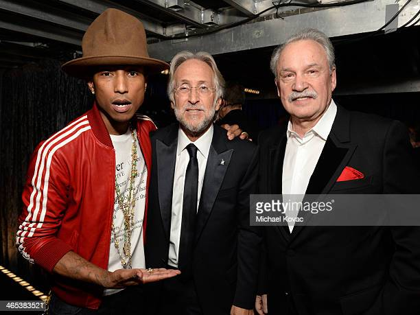 Recording artist Pharrell Williams CEO/President of the National Academy of Recording Arts Sciences Neil Portnow and Giorgio Moroder attend the 56th...