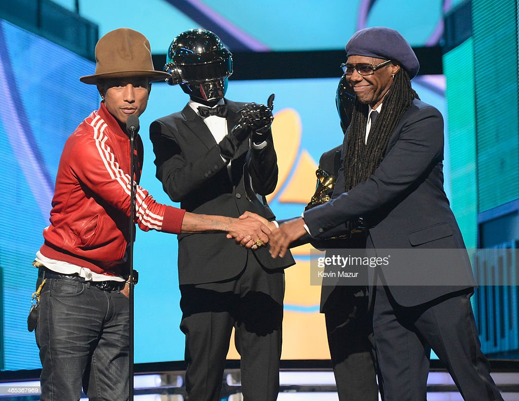 Recording artist Pharrell Williams, Daft Punk's Thomas Bangalter and Guy-Manuel de Homem-Christo and musician Nile Rodgers accept award onstage during the 56th GRAMMY Awards at Staples Center on January 26, 2014 in Los Angeles, California.