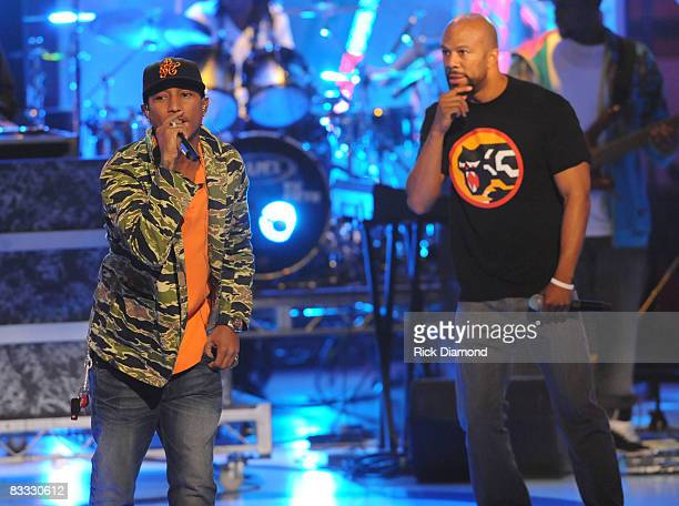 Recording artist Pharrell Williams of NERD is joined by Recording artist Common during rehearsals at the 2008 BET HipHop Awards Rehearsals Day 2 at...