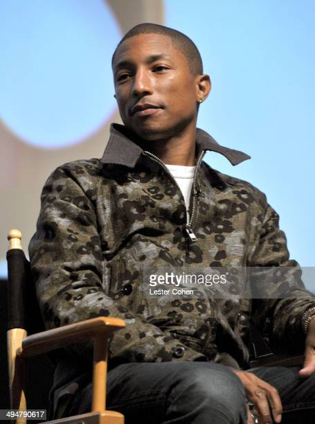 Recording artist Pharrell Williams onstage during A Conversation About the 56th GRAMMYS and Beatles Show at Leonard H Goldenson Theatre on May 30...