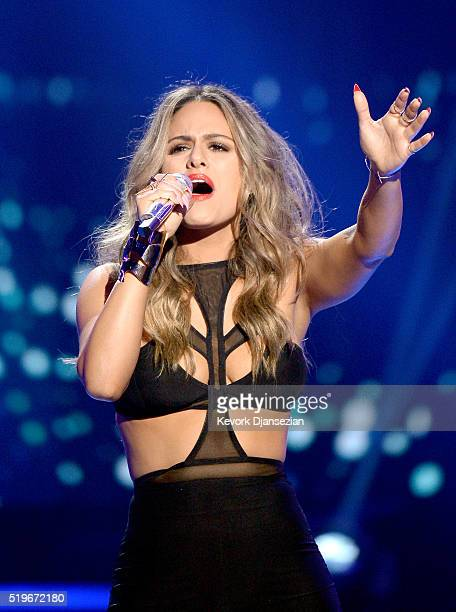 Recording artist Pia Toscano performs onstage during FOX's 'American Idol' Finale For The Farewell Season at Dolby Theatre on April 7 2016 in...