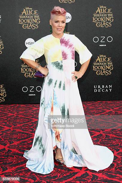 Recording artist Pink aka Alecia Moore attends the premiere of Disney's 'Alice Through The Looking Glass' at the El Capitan Theatre on May 23 2016 in...