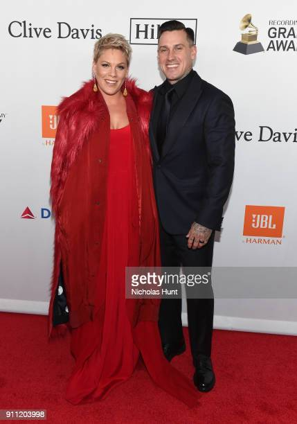 Recording artist Pink and Carey Hart attend the Clive Davis and Recording Academy PreGRAMMY Gala and GRAMMY Salute to Industry Icons Honoring JayZ on...