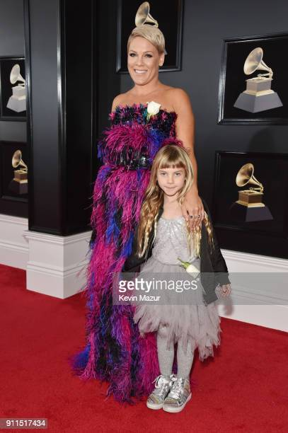 Recording artist Pink and daughter Willow Sage Hart attend the 60th Annual GRAMMY Awards at Madison Square Garden on January 28 2018 in New York City
