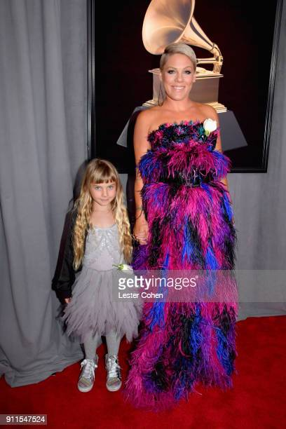 Recording artist Pink and her daughter Willow Hart attend the 60th Annual GRAMMY Awards at Madison Square Garden on January 28 2018 in New York City