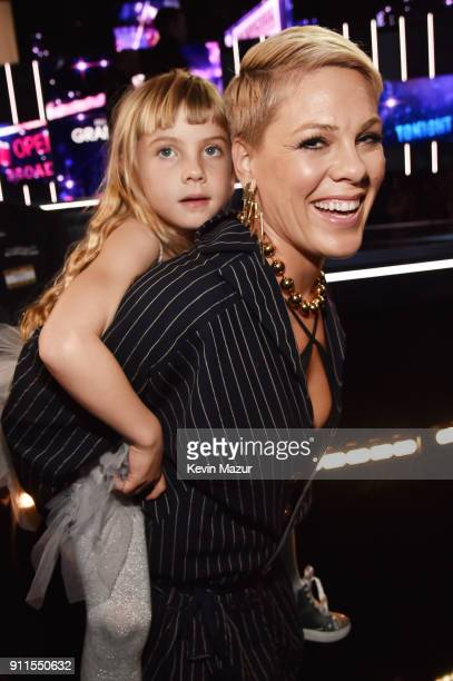 Recording artist Pink and her daughter Willow Hart attend the 60th Annual GRAMMY Awards at Madison Square Garden on January 28, 2018 in New York City.