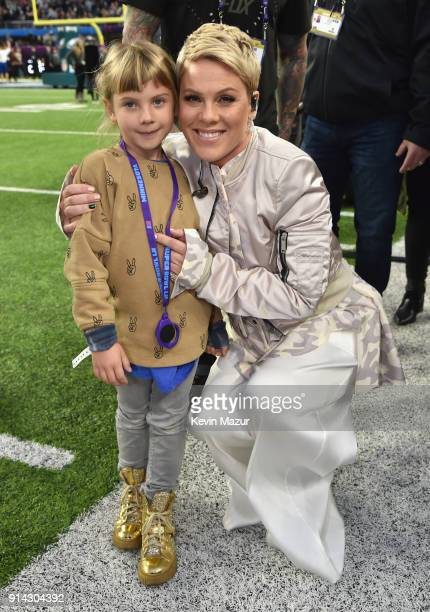 Recording artist Pink and Willow Hart attend Super Bowl LII Pregame show at US Bank Stadium on February 4 2018 in Minneapolis Minnesota