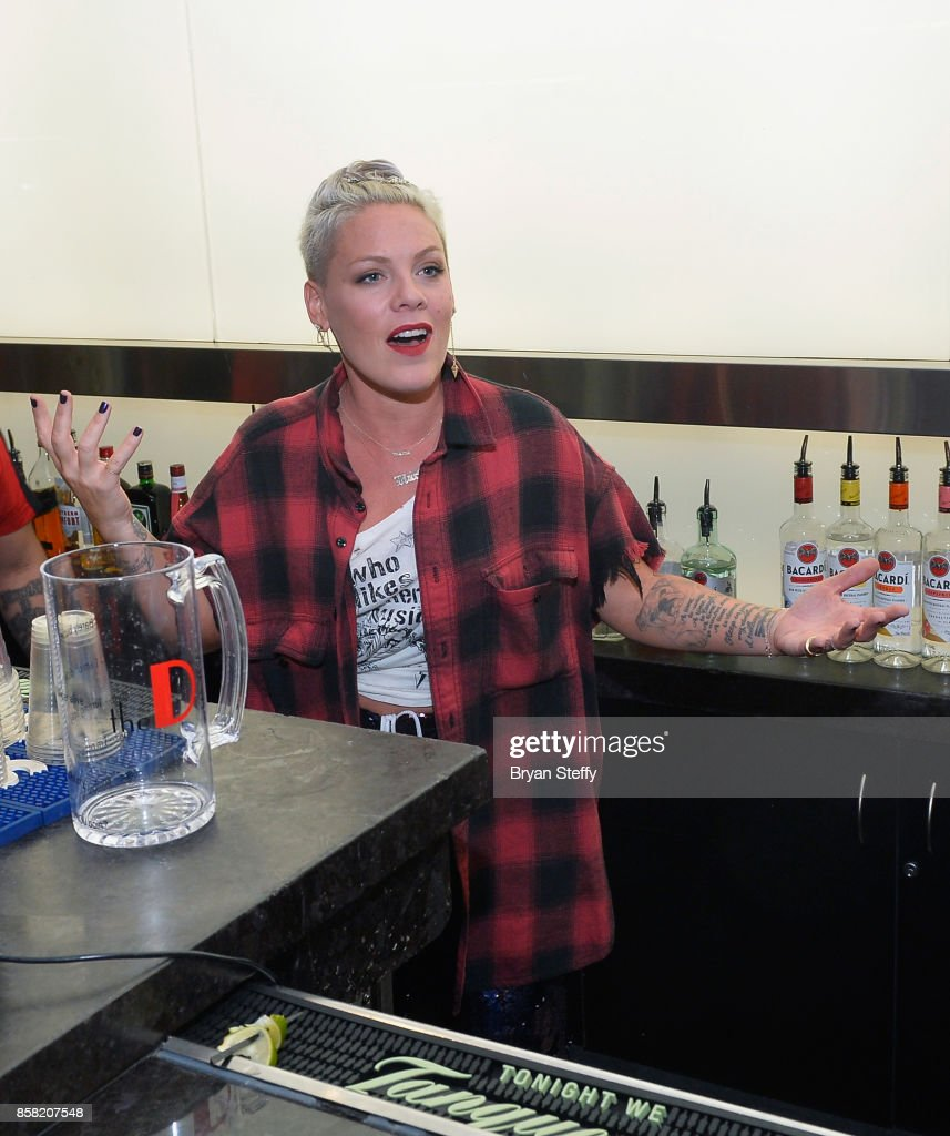 Recording artist Pink attends a surprise event in support of her husbands foundation Carey Hart's Good Ride Rally benefiting the Infinite Hero Foundation at The D Bar, at the D Las Vegas on October 5, 2017 in Las Vegas, Nevada.