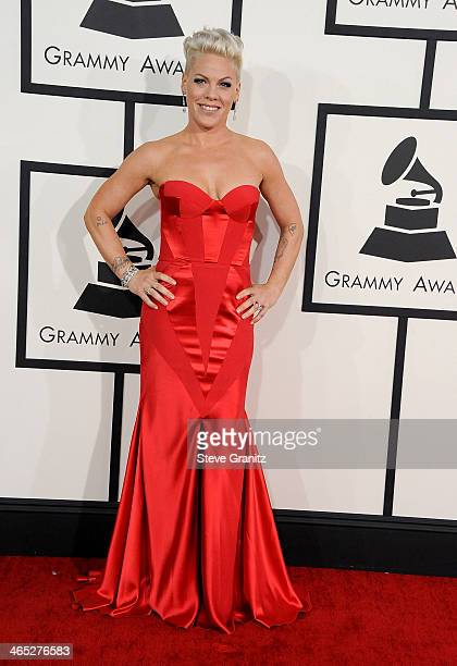 Recording artist Pink attends the 56th GRAMMY Awards at Staples Center on January 26 2014 in Los Angeles California