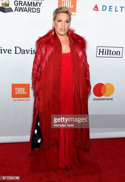 Recording artist Pink attends the Clive Davis and Recording Academy PreGRAMMY Gala and GRAMMY Salute to Industry Icons Honoring JayZ on January 27...