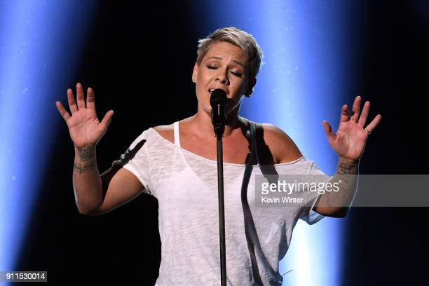 Recording artist Pink performs onstage during the 60th Annual GRAMMY Awards at Madison Square Garden on January 28 2018 in New York City