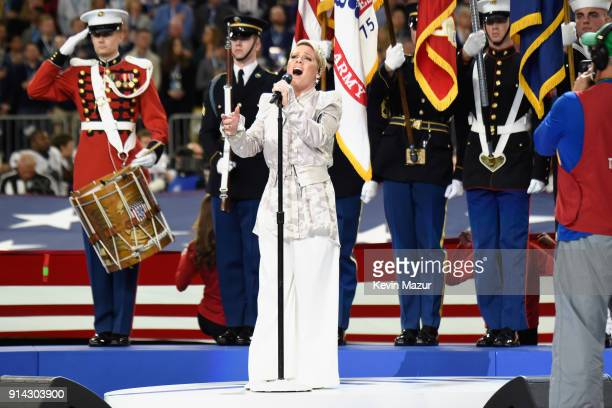 Recording artist Pink performs the National Anthem during the Super Bowl LII Pregame show at U.S. Bank Stadium on February 4, 2018 in Minneapolis,...