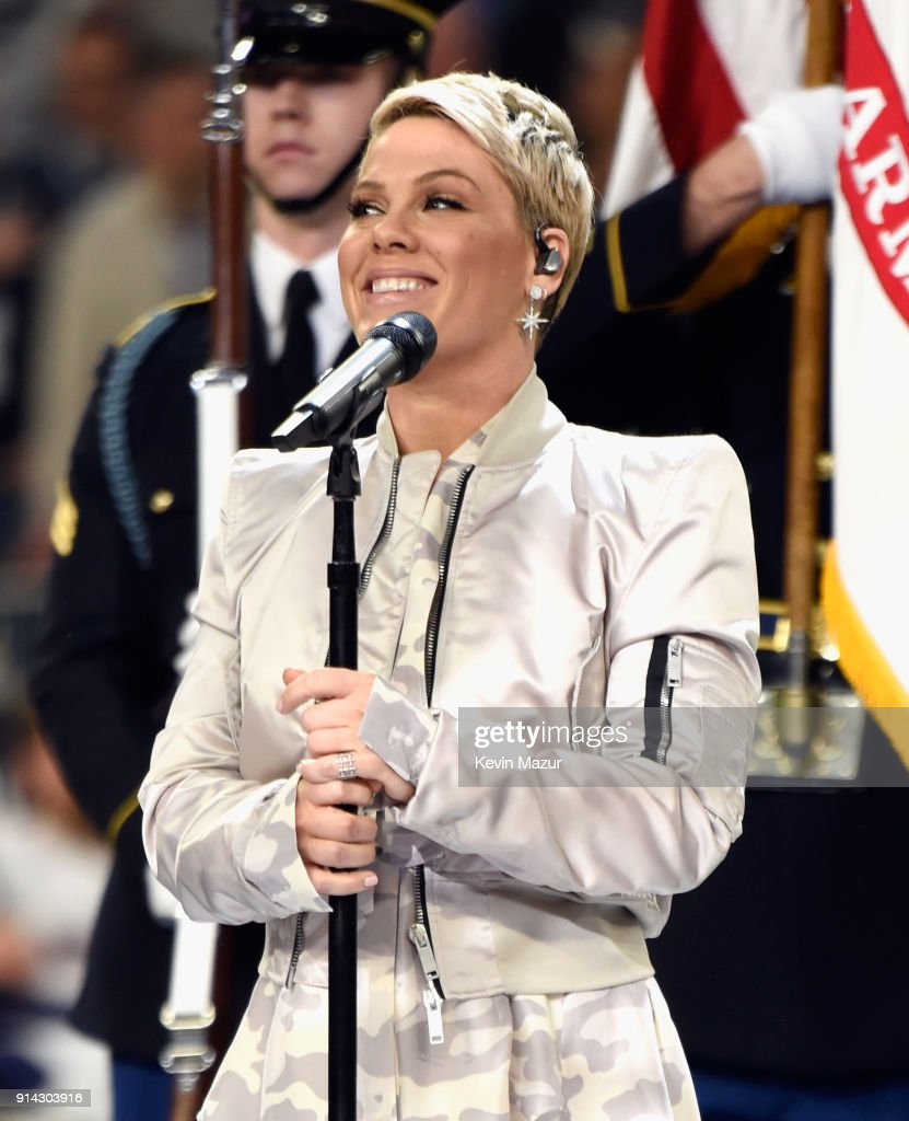 Recording artist Pink performs the National Anthem during the Super Bowl LII Pregame show at U.S. Bank Stadium on February 4, 2018 in Minneapolis, Minnesota.