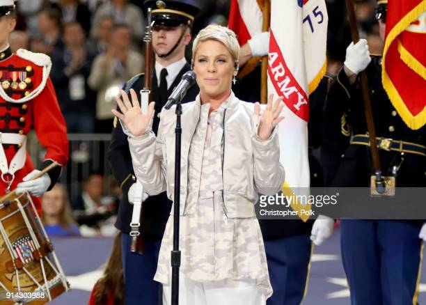 Recording artist Pink performs the National Anthem during the Super Bowl LII Pregame show at US Bank Stadium on February 4 2018 in Minneapolis...
