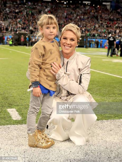 Recording artist Pink poses with daughter Willow Sage Hart before the National Anthem during the Super Bowl LII Pregame show at US Bank Stadium on...