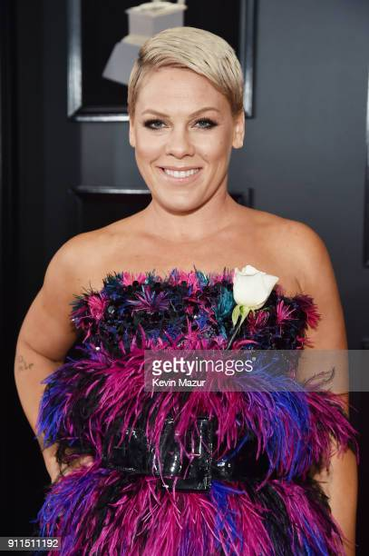 Recording artist Pink white rose detail attends the 60th Annual GRAMMY Awards at Madison Square Garden on January 28 2018 in New York City