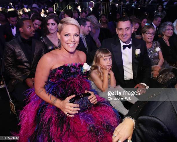 Recording artist Pink Willow Sage Hart Carey Hart and Judith Moore attend the 60th Annual GRAMMY Awards at Madison Square Garden on January 28 2018...