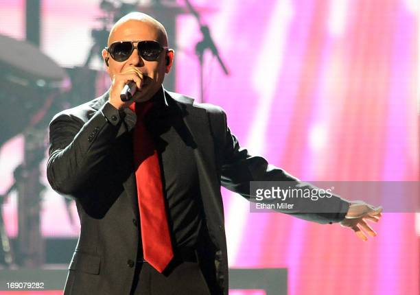 Recording artist Pitbull onstage during the 2013 Billboard Music Awards at the MGM Grand Garden Arena on May 19 2013 in Las Vegas Nevada