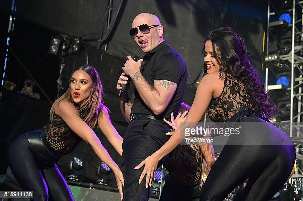 Recording artist Pitbull performs on stage during Capital One JamFest at the NCAA March Madness Music Festival Day 3 at Discovery Green on April 3...