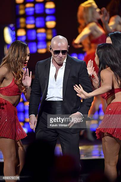 Recording artist Pitbull performs onstage during the 15th annual Latin GRAMMY Awards at the MGM Grand Garden Arena on November 20 2014 in Las Vegas...