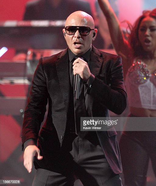Recording artist Pitbull performs onstage during the 40th American Music Awards held at Nokia Theatre LA Live on November 18 2012 in Los Angeles...