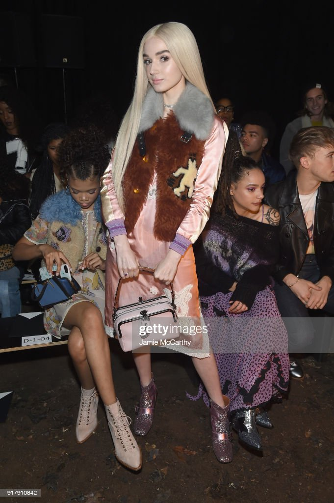 Recording Artist Poppy attends the Coach 1941 front row during New York Fashion Week at Basketball City on February 13, 2018 in New York City.