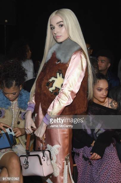 Recording Artist Poppy attends the Coach 1941 front row during New York Fashion Week at Basketball City on February 13 2018 in New York City