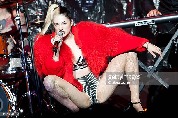 Recording artist Porcelain Black performs at Staples Center on April 22 2011 in Los Angeles California