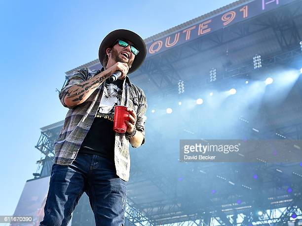 Recording artist Preston Brust of LoCash performs during the Route 91 Harvest country music festival at the Las Vegas Village on September 30 2016 in...