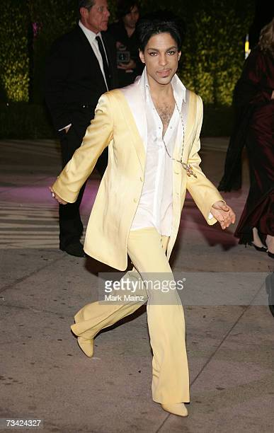 Recording artist Prince leaving the 2007 Vanity Fair Oscar Party at Mortons on February 25 2007 in West Hollywood California