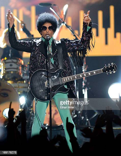 Recording artist Prince performs during the 2013 Billboard Music Awards at the MGM Grand Garden Arena on May 19 2013 in Las Vegas Nevada