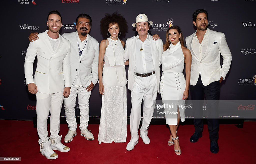 Recording artist Prince Royce, actor/comedian George Lopez, drummer Cindy Blackman, recording artist Carlos Santana, actress Eva Longoria and actor Adam Rodriguez attend the Padres Contra El Cancer's 16th annual 'El Sueno de Esperanza' celebration at The Venetian Las Vegas on August 20, 2016 in Las Vegas, Nevada.