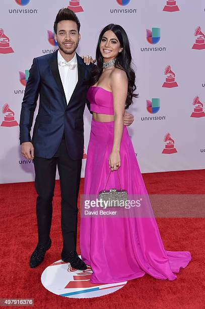 Recording artist Prince Royce and actress Emeraude Toubia attend the 16th Latin GRAMMY Awards at the MGM Grand Garden Arena on November 19 2015 in...