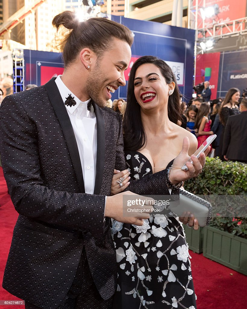 Recording artist Prince Royce (L) and actress Emeraude Toubia attend The 17th Annual Latin Grammy Awards at T-Mobile Arena on November 17, 2016 in Las Vegas, Nevada.