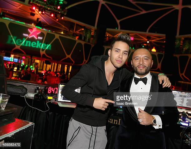 Recording artist Prince Royce and DJ Alex Sensation attend the after party for the 15th annual Latin GRAMMY Awards at the MGM Grand Garden Arena at...
