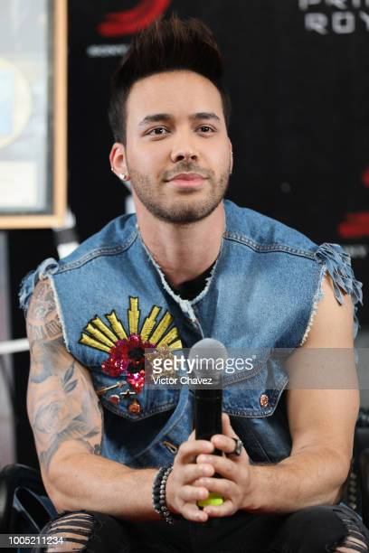 Recording artist Prince Royce attends a press conference at Hotel Presidente Intercontinental on July 25 2018 in Mexico City Mexico