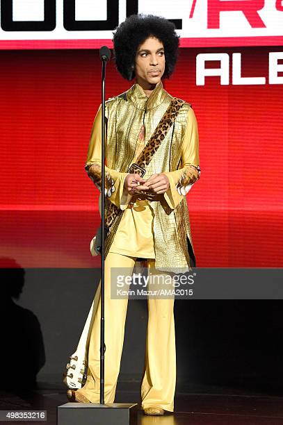 Recording artist Prince speaks onstage during the 2015 American Music Awards at Microsoft Theater on November 22 2015 in Los Angeles California