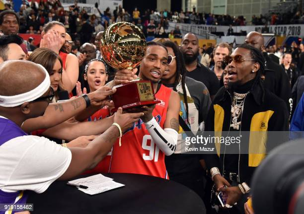 Recording artist Quavo poses with the Celebrity AllStar MVP award during the NBA AllStar Celebrity Game 2018 presented by Ruffles at Verizon Up Arena...