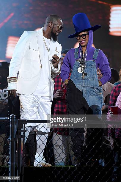 Recording artist R Kelly and host Erykah Badu performs during the 2015 Soul Train Music Awards at the Orleans Arena on November 6 2015 in Las Vegas...
