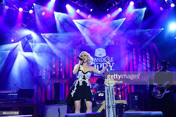Recording Artist RaeLynn performs during The Grand Ole Opry at CRS 2015 on February 25 2015 in Nashville Tennessee